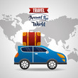 automobile with suitcase in roof travel world vector illustration