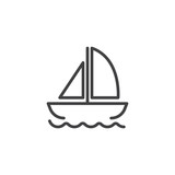 Yacht on waves outline icon. linear style sign for mobile concept and web design. Floating ship simple line vector icon. Symbol, logo illustration. Pixel perfect vector graphics - 210269464