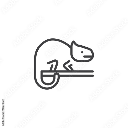 Fototapeta Chameleon outline icon. linear style sign for mobile concept and web design. Lizard animal simple line vector icon. Symbol, logo illustration. Pixel perfect vector graphics