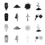 A garbage can, a diseased tree, a wind turbine, a key to a bio car.Bio and ecology set collection icons in black,monochrome style vector symbol stock illustration web. - 210282880