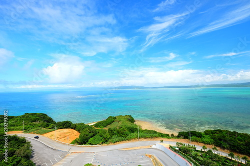 Fotobehang Blauw Beautiful sunny day blue sky and white cloud view and clear water in Japan Okinawa