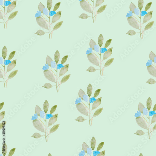 pattern, watercolor flowers, blue flowers - 210299823