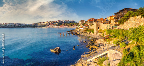 Leinwanddruck Bild Coastal landscape banner, panorama - embankment with fortress wall in the city of Sozopol on the Black Sea coast in Bulgaria