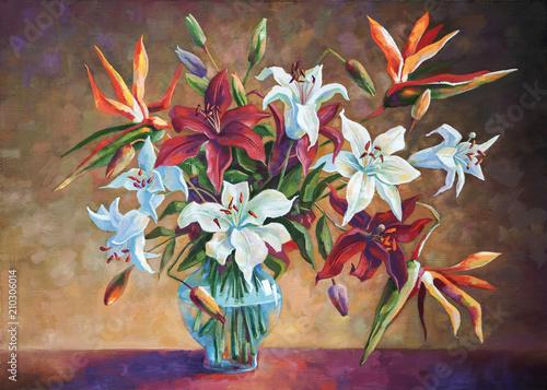 Fototapety, obrazy : Strelitzia among the lilies. Painting: canvas, oil. Author: Nikolay Sivenkov.