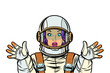 astronaut woman surprised pop art
