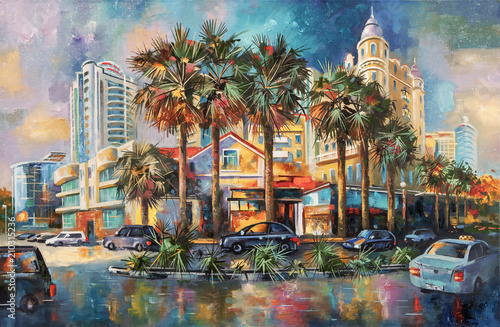 Fototapety, obrazy : Street after rain. Architectural landscape of the beloved city of Sochi. Painting: canvas, oil. Author: Nikolay Sivenkov.