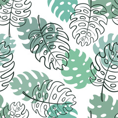 Beautiful seamless doodle pattern with vintage monstera leaves sketch. design for holiday greeting card and invitation of seasonal summer holidays, summer beach parties, tourism, travel
