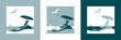 Sommerferien Vektorlogo mit Liegestuhl, Sonnenschirm, Möwe, Segelboot, Strand und Meer