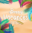 Summer vacation background vector France concept with tropical leaf.