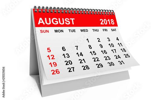 Calendar August 2018. 3d rendering