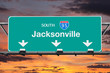 Jacksonville Florida 95 Freeway Sign with Sunset Sky