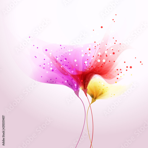Poster vector background with soft flowers