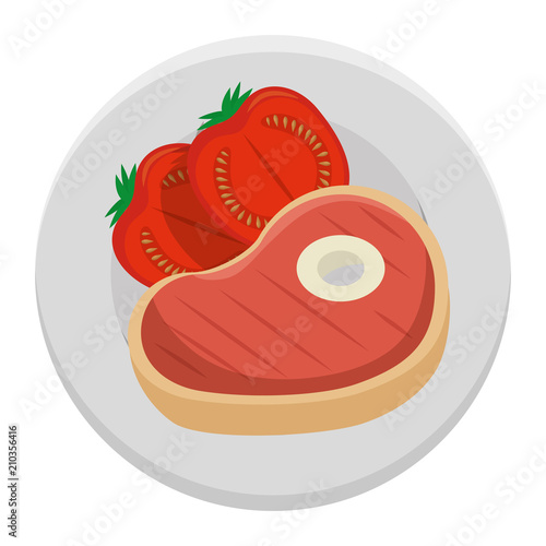 delicious beef steak with tomatoes vector illustration design - 210356416