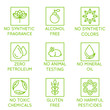 Vector set of design elements, logo design template, icons and badges for natural and organic cosmetics in trendy linear style - no synthetic fragrance and colors