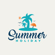 Summer holiday creative design with tropical beach.