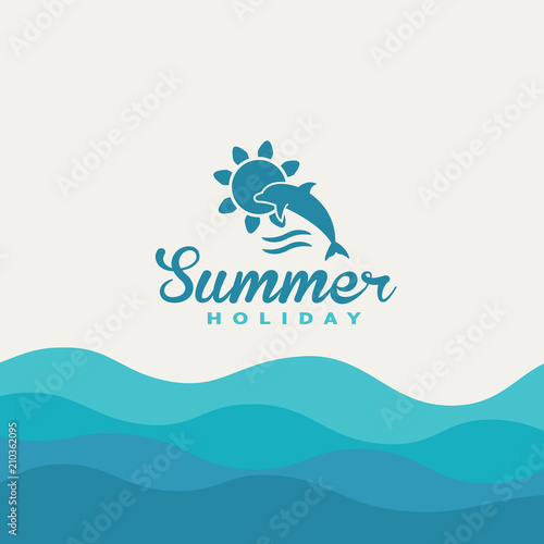 Ocean background with summer holiday text in blue colors.