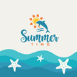 Sea waves background and summer creative design.