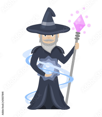 Wizard with a magic staff on white background, vector illustration. - 210371841