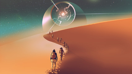 people walking through a desert to the mysterious building, digital art style, illustration painting © grandfailure
