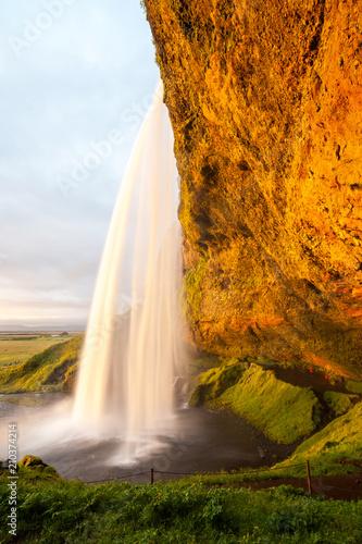 Seljalandsfoss waterfall - one of the most famous and beautiful waterfalls, Iceland - 210374214