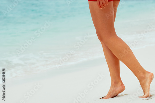 Woman Legs Closeup Walking On White Sand Relaxing In Beach Sexy Lean And Tanned Legs