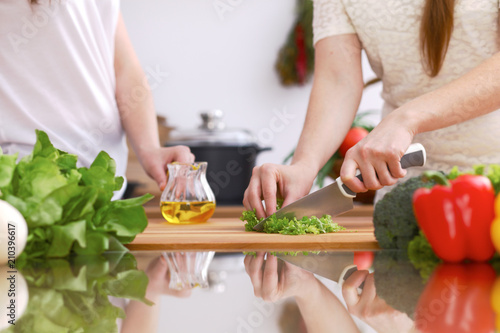 Wall mural Closeup of human hands cooking in kitchen. Mother and daughter or two female friends cutting vegetables for fresh salad. Healthy meal, vegetarian food and lifestyle concepts