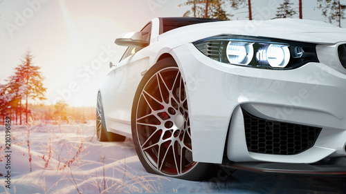 Foto Murales white car in the snow. 3d render and illustration.
