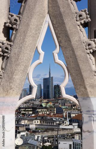 Aluminium Milan Milan city view from the top of Milan Cathedral