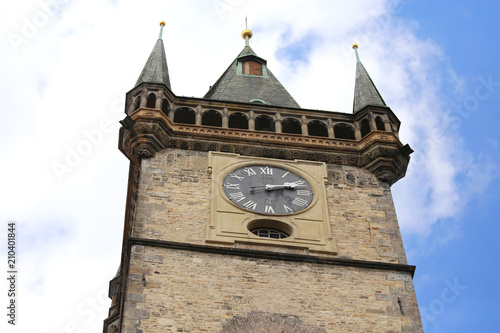 Prague Ancient clock of the medieval tower in the main square of