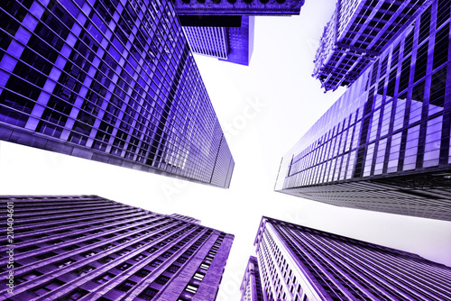 New York City building toned with ultaviolet Pantone color of the year 2018