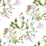 Watercolor painting of leaf and flowers, seamless pattern on white background - 210414002