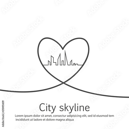 Silhouette of the city and heart and love in continuous drawing lines in a flat style. Modern urban landscape. Vector illustrations. City skyscrapers building office horizon.Continuous line drawing - 210415609