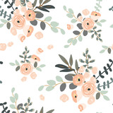 Blush pink floral bouquets on the white background. Vector seamless pattern with rose flowers. Exotic summer beach.