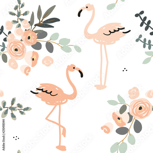 Blush pink flamingo and floral bouquets with gray leaves on the white background. Vector seamless pattern with tropical birds and flowers. Exotic summer beach. - 210418044