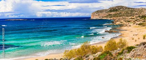 Plexiglas Freesurf Impressive view of wild part Falasarna beach. beautiful beaches of Crete island. Greece