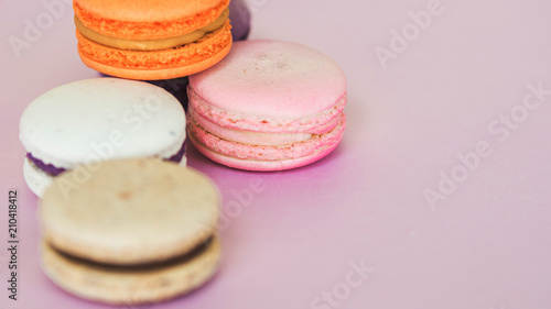 Fotobehang Macarons Set of colorful French macaroni cakes. Sweet almond cookies with different flavors.