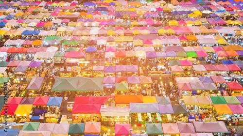 Plexiglas Bangkok Night flea market roof top multiple colour, cityscape background