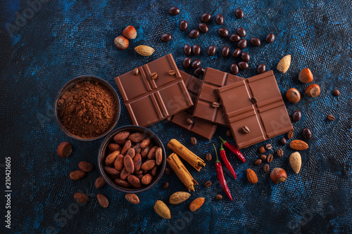 chocolate and cocoa on blue