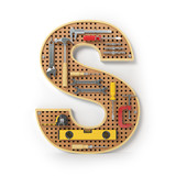 Letter S. Alphabet from the tools on the metal pegboard isolated on white. - 210423004