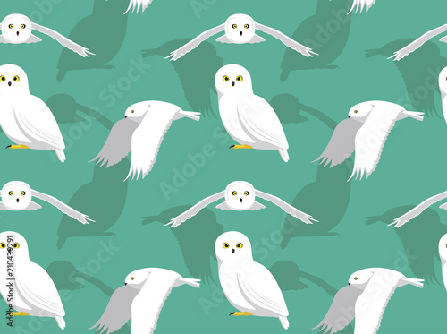 Fotobehang Uilen cartoon Snowy Owl flying Cute Cartoon Background Seamless Wallpaper