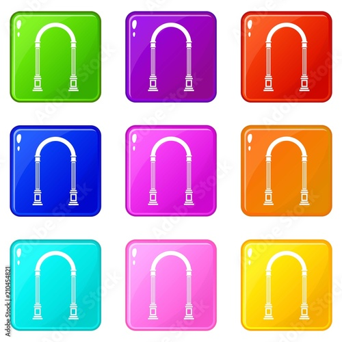 Arch icons of 9 color set isolated vector illustration © ylivdesign