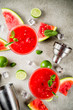 Leinwanddruck Bild - Watermelon margarita cocktail with lime and sliced watermelon, light concrete background copy space