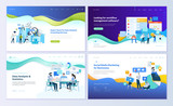 Set of web page design templates for data analysis, management app, consulting, social media marketing. Modern vector illustration concepts for website and mobile website development.  - 210462227