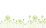 Decorative Elements for design, dandelions flowers blooming and other wild field plants.