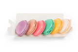 Colored macaroons pack isolated on white with clipping path - 210470067