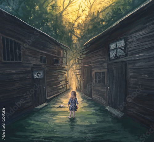 Little girl and pathway
