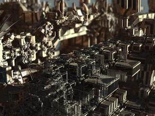 futuristic digital 3d art fractal illustration - look in the infinity