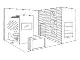 Exhibition stand graphic interior black white sketch illustration vector - 210500201