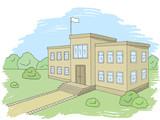 School building graphic color exterior sketch illustration vector - 210501286