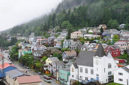 Plexiglas Khaki Colorful houses in Ketchikan, Alaska